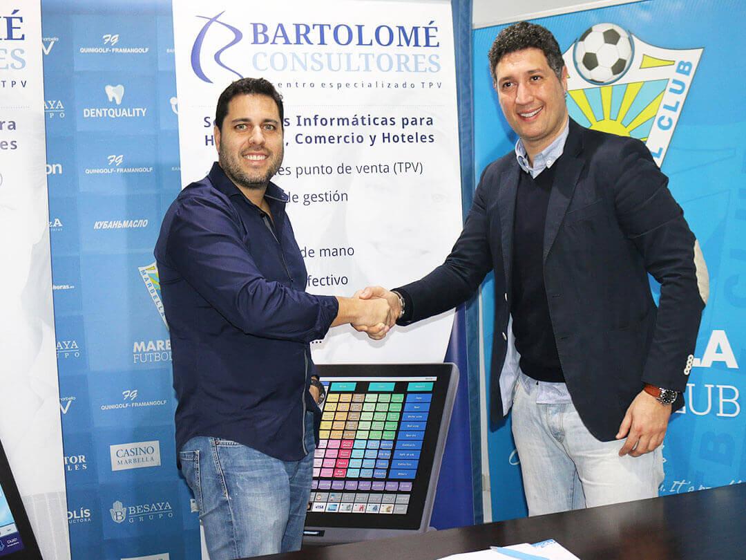 Trato patrocinio Marbella CF Bartolomé Consultores TPV